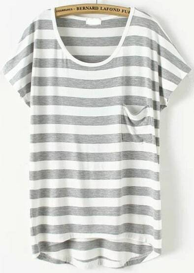 Grey Short Sleeve Striped Pocket T-Shirt