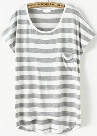 Grey Short Sleeve Striped Pocket T-Shirt