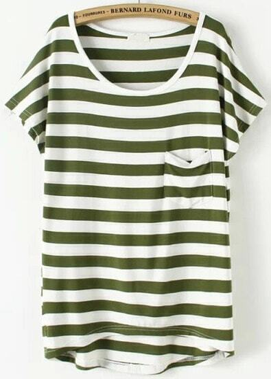 Green Short Sleeve Striped Pocket T-Shirt
