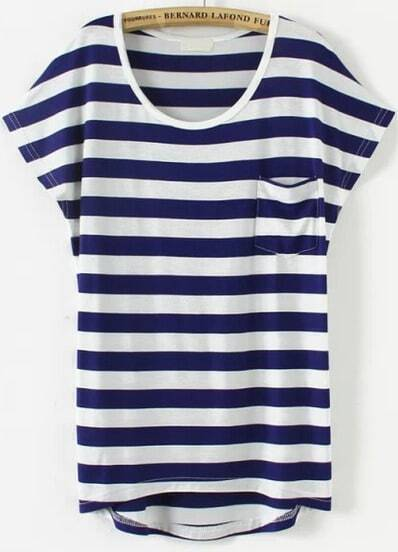 Royal Blue Short Sleeve Striped Pocket T-Shirt