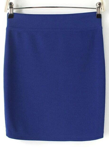 royal blue bodycon mini skirt shein sheinside
