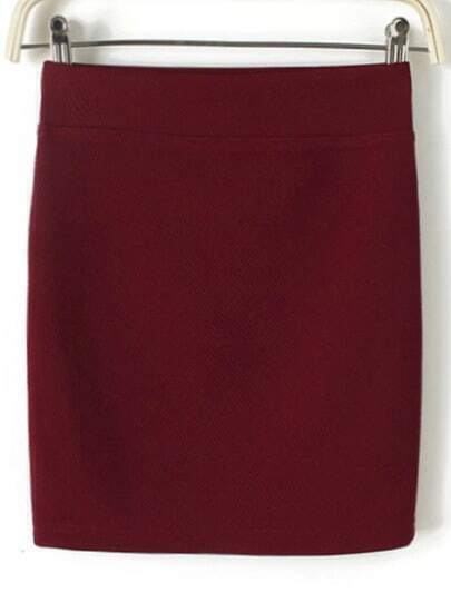 Wine Red Bodycon Mini Skirt