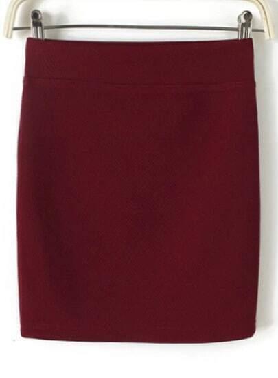 Wine Red Bodycon Mini Skirt