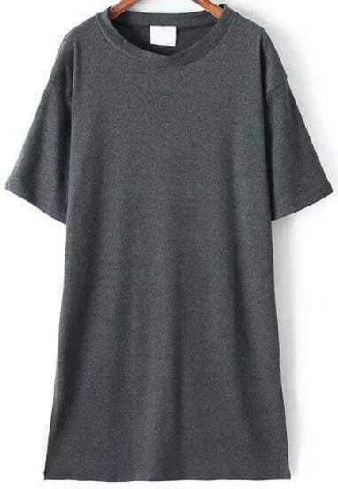 Grey Short Sleeve Split Slim Dress