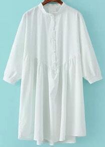White Stand Collar Loose Chiffon Shirt Dress