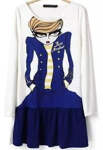 White Long Sleeve Cartoon Character Print Dress