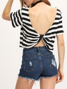 White Black Striped Open Back T-Shirt