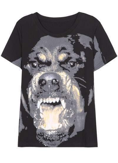 Black Short Sleeve Dog Print T-Shirt