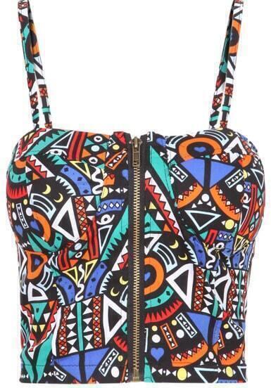 Multicolor Spaghetti Strap Geometric Print Vest