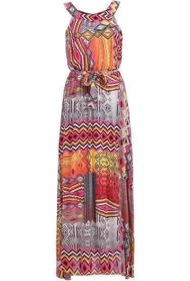 Yellow Strap Geometric Print Maxi Dress