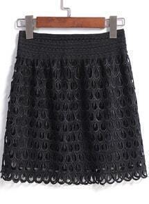 Black Hollow Lace Skirt