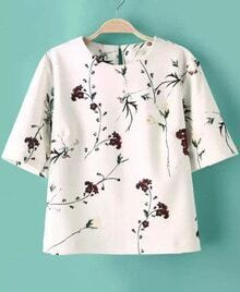 White Short Sleeve Floral Crop T-Shirt