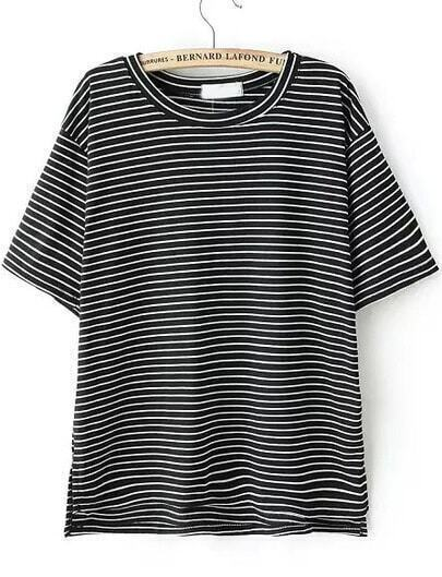 Black Short Sleeve Vintage Striped T-Shirt