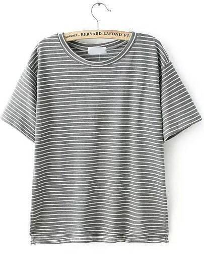 Grey Short Sleeve Vintage Striped T-Shirt