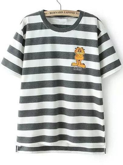 Grey White Short Sleeve Striped Garfield Print T-Shirt