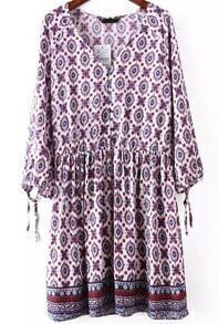 Red V Neck Long Sleeve Tribal Print Dress