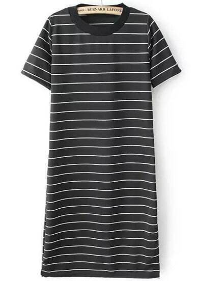 Black Short Sleeve Striped Slim Dress