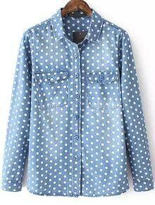 Blue Lapel Long Sleeve Polka Dot Bleached Blouse
