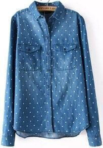 Blue Lapel Long Sleeve Polka Dot Denim Blouse