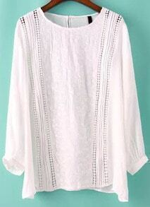White Round Neck Hollow Loose Blouse