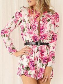 White Long Sleeve Floral Print Jumpsuit