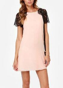 Pink Lace Short Sleeve Chiffon Slim Dress