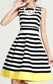 Black White Sleeveless Striped Casual Dress