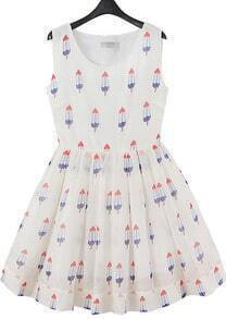 White Sleeveless Ice Cream Print Dress