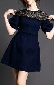 Blue Lace Shoulder Slim Denim Dress