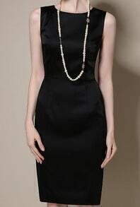 Black Round Neck Sleeveless Slim Dress