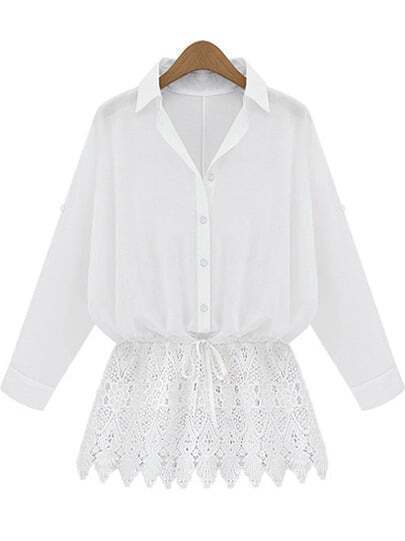 White Lapel Lace Hem Loose Blouse