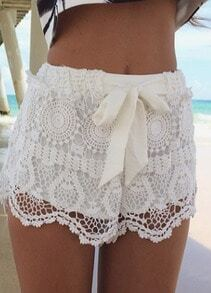 White Bow Hollow Lace Shorts