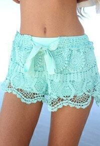 Green Bow Hollow Lace Shorts