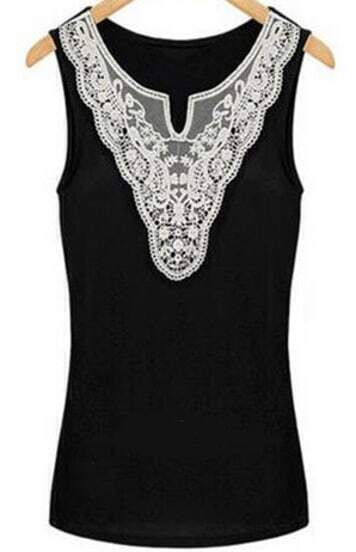 Black V Neck Sleeveless Lace Tank Top