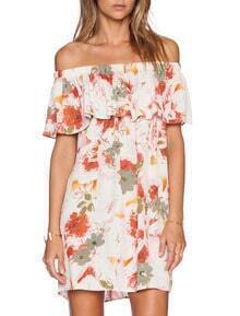 White Off The Shoulder Floral Print Dress