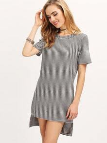 Grey Short Sleeve Striped High Low Dress