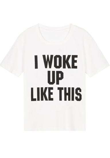 White Short Sleeve WOKE UP Print T-Shirt