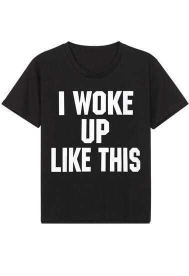 Black Short Sleeve WOKE UP Print T-Shirt
