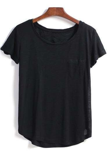 Black Short Sleeve Pocket Loose Blouse