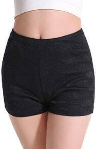 Black Slim Lace Shorts