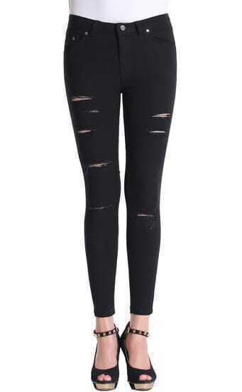 Black Ripped Skinny Pant