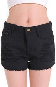 Black Ripped Straight Denim Shorts
