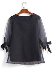 Black Sheer Mesh Bow Loose Blouse