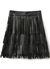 Black Tassel PU Skirt