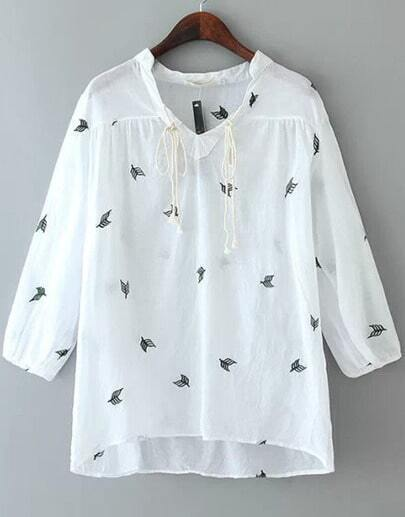 White Knotted Collar Leaves Embroidered Blouse