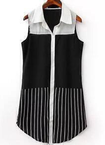 Black Lapel Sleeveless Vertical Stripe Blouse
