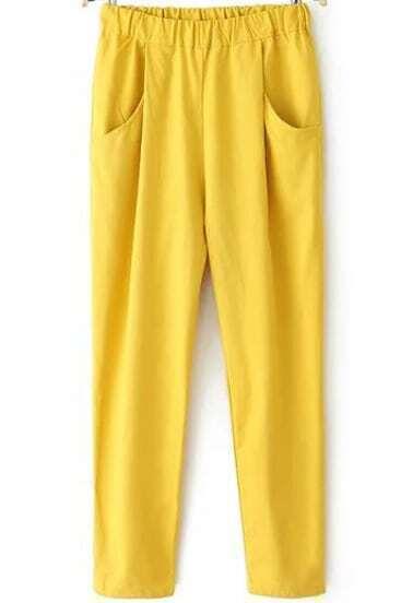 Yellow Elastic Waist Pockets Pant