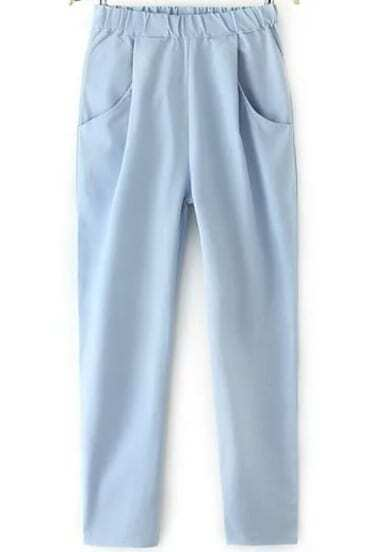 Blue Elastic Waist Pockets Pant