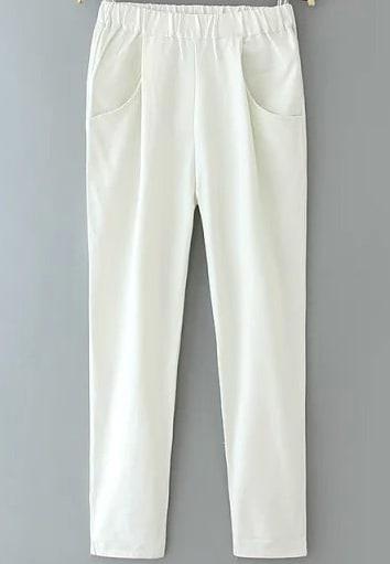 White Elastic Waist Pockets Pant