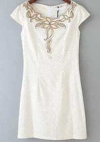 Beige Short Sleeve Embroidered Slim Dress